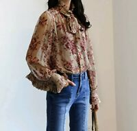 Victorian Runway Designer Inspired Dusky Pink Flower Floaty Pussy Bow  Blouse 12