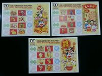 100 Doraemon Chinese New Year Malaysia Japan Cartoon Animation 小叮当 (3 sheets MNH