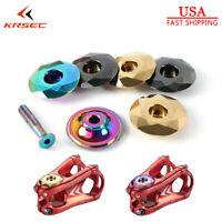 """KRSEC Bike Top Cap 1-1/8"""" Titanium-plated AL For MTB/Road Bicycle Headset/Stem"""