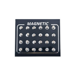 12 Pair Mens Women Non Piercing Ear Stud Clip On Round Magnetic Earrings Sets US
