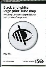 London Underground Black & White Large Print Tube Map May 2013