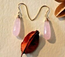 9 carat Gold ear wires and bells, with stunning  rose quartz drops,