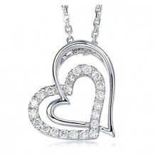 Heart CZ Crystal Love Charm Pendant & Necklace in 925 Sterling Silver Rhodium A2