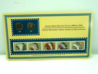 1890 & 1891 Indian Head Pennies with (5) Mint US .25 Cent Stamps On Display Card