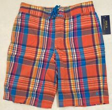 Polo Ralph Lauren Boy's Swim/Boardshorts Orange Teal Plaid Size Med (10-12) NWT