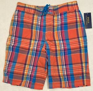 Polo Ralph Lauren Boy's Swim/Boardshorts Orange Teal Plaid Size Med (10-12) NWT
