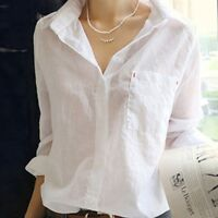 Women's V Neck Long Sleeve White Shirt Blouse Lady Casual Cotton Linen Shirt Top