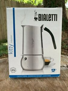 Bialetti Stove Top Coffee Espresso Maker KITTY Stainless Steel 4 Cup Pot Italian