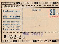ANTIGUO BILLETE para niños Tranvía Frankfurt am Main, Alemania (g4203)