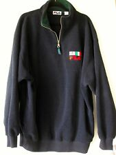 FILA Fleece XL Half 1/2 Zip Navy Blue USA Italy Flags Logo Mens Extra Large