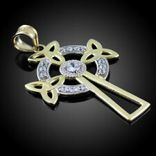 14k Two-Tone Gold Celtic Cross Trinity Knot Diamond Pendant Made in USA