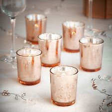 VonHaus Vintage Glass LED Tea Light Candles & Holder Set of 6 - Rose Gold