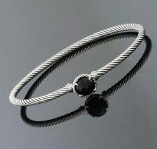 David Yurman Sterling Silver Black Onyx 3mm Cable Chatelaine Bangle Bracelet