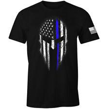 Thin Blue Line American Spartan USA Flag Patriotic Police T-Shirt