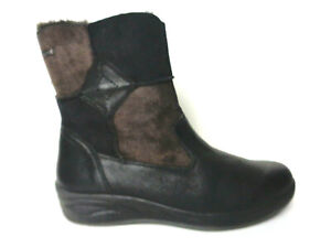 FLEXUS by Spring Step Ietta 9M Black/Brown smooth & suede Leather Boots Booties