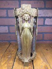 Antique 1900 Art Nouveau Patina Bronze Vase Charles Korschann Unsigned Vintage
