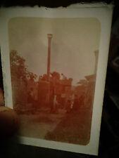 Ancienne Photographie Locomobile à Vapeur et Batteuse Scène de Battage:non situé