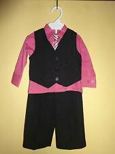 Vangogh Infant Boys Dress Clothes Outfit SZ 6 Mos Holiday Wedding Black Pink Tie