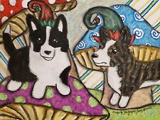 Cardigan Elves 13x19 Art Print by Artist Ksams Welsh Corgi Collectible Elf Dogs