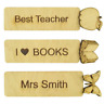 Personalised Best Teacher Gift Thank You Oak Wooden Bookmark Leaving Assistant