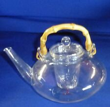 T-SALON Glass Teapot with Infuser Steeper & Bamboo handle