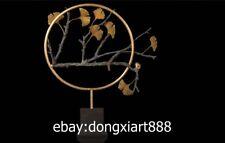 73 CM Western Art Deco Pure Bronze Marble snail Maidenhair Tree Leaf Sculpture