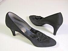 Vintage Connie Black Dress Pump Shoe with Lace 7N