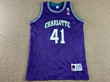 Glen Rice Champion Jersey Charlotte Hornets Youth L Purple Basketball shirt VTG