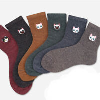 Cartoon Cat Embroidery Women Cotton Socks Lady Autumn Winter Warm Casual Socks