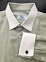 Brioni Italy Mens Green Grey White Collar Spread French Cuff Shirt 16/41 32/33