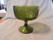 Vintage Green Glass Chalice or Footed Candy Dish with Leaves Design (M)