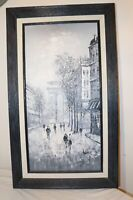 vintage original C. Burnett B&W abstract expressionism city scape oil painting.