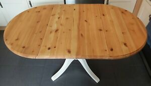 Refurbished dropleaf extending solid pine oval dining kitchen table