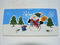 New Harry and David Christmas Holiday Rectangular Snowman Serving Dish, New