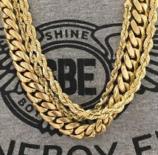 """MIAMI CUBAN LINK CHAIN & ROPE CHAIN 14K GOLD PLATED 30"""" 3 PIECE SET NECKLACE"""