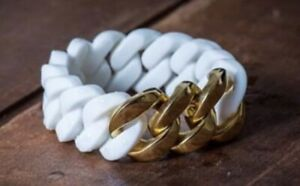 """RUBBS White Silicone Stretchy 6""""-8"""" Bracelet With Gold Tone Links Rare HTF"""