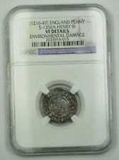 1216-47 England Penny Silver Coin S-1356A Henry III NGC VF Details Envir Dmg AKR