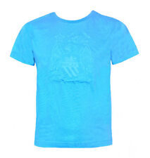 BOYS 4 5 years MANCHESTER CITY Embossed Cotton T shirt Kids Football Blue MAN