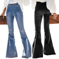 Women Destoryed Flare Jeans Midi Elastic Waist Bell Bottom Denim Pants Trousers