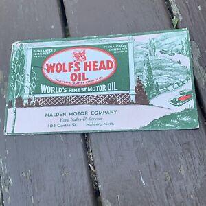 INK BLOTTER 1950s Wolfs Head Oil Malden Motor Co. Massachusetts