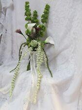 Arm Sheaf silk flower Bridal Bouquet Bells Calla Lily White Purple Plum green
