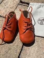 Hermes Baby Unisex first Shoes Sneakers Size 18 0/6M Orange Auth Mint Leather
