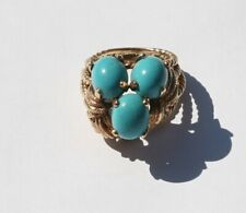 14K Yellow  Gold Turquoise Ring Size 6.5 lot204