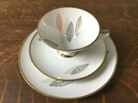 Vintage Winterling Roslau Bavaria Feather Design Luncheon Set Cup Saucer & Plate