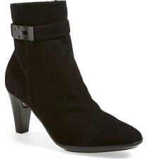 NEW $495 SZ 11 Classy Black Suede Aquatalia Leather Trim Almond Toe Ankle Boot