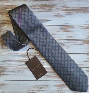 "GUCCI Grey 'Arend' Silk Tie w/Stripe & Interlocking GG 3.25"" *NEW W/TAGS*"