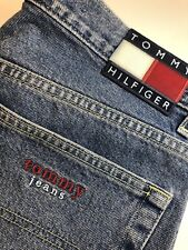 516e0022 Tommy Hilfiger Mom Jeans Blue Vintage 1990s SPELL OUT FLAG Box Logo[C20]
