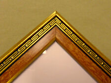 2114D Vtg Passepart Out 4x6 Photo Frame Wood Front Gold Greek Style Border Vgc