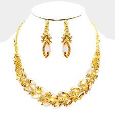 LUSH Statement Gold Light Topaz Crystal Cocktail Necklace Set By Rocks Boutique