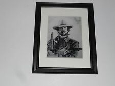 "Large Framed Josey Wales Clint Eastwood Poster Pencil Art Glass Frame 24"" by 20"""